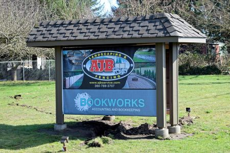 AJB and Bookworks sign at new, Tumwater location