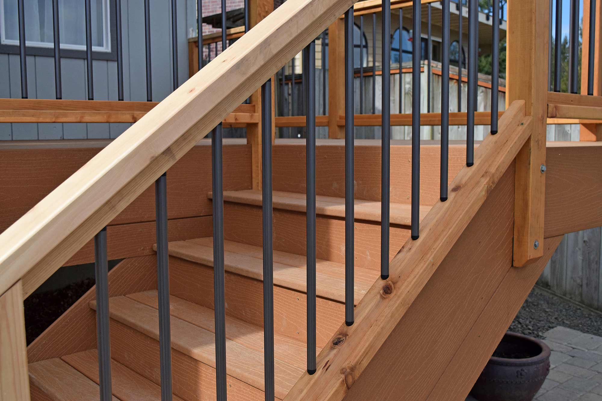 Composite decking material installation near yelm ajb for Composite deck railing