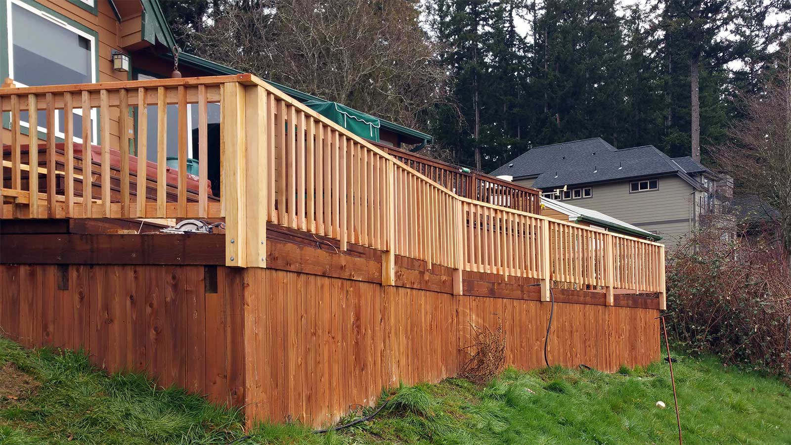 AJB Landscaping & Fence installed the railing for this existing deck in Yelm.