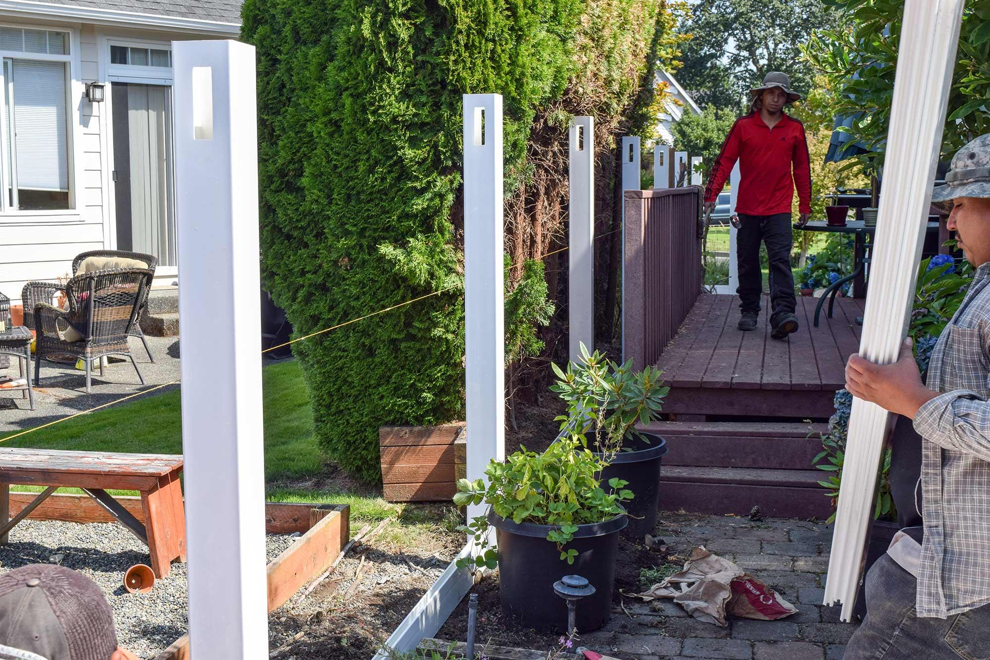 Vinyl fence installation dupont ajb landscaping fence vinyl posts in place vinyl posts in place baanklon Image collections
