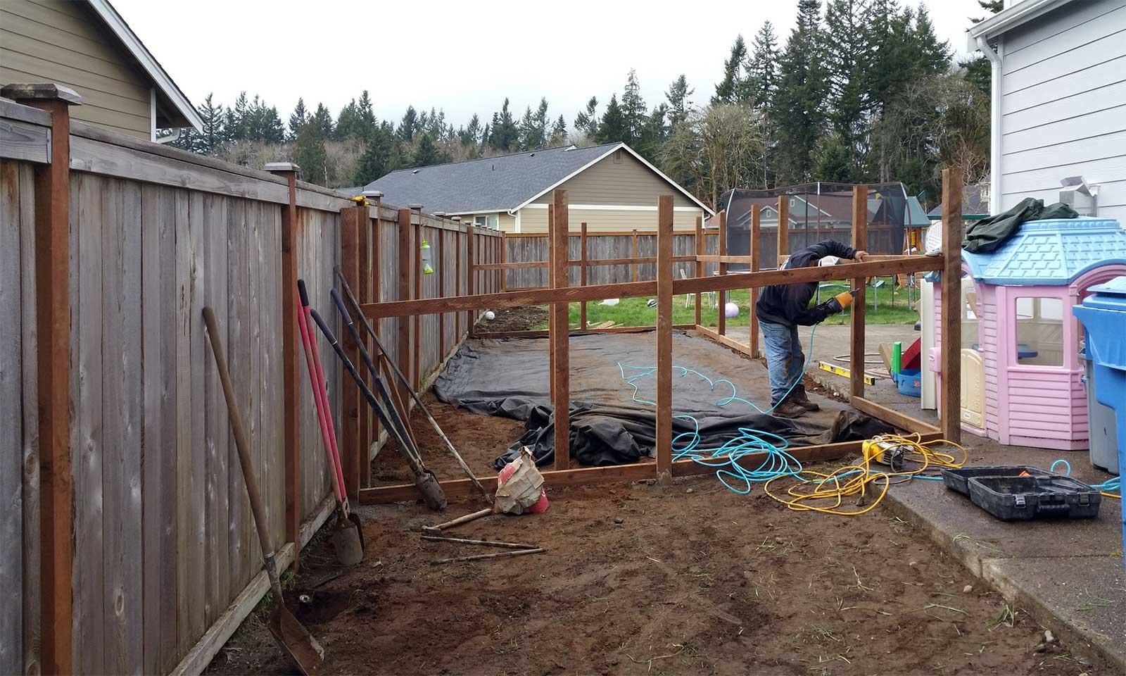 east olympia kennel with cedar chips ajb landscaping u0026 fence