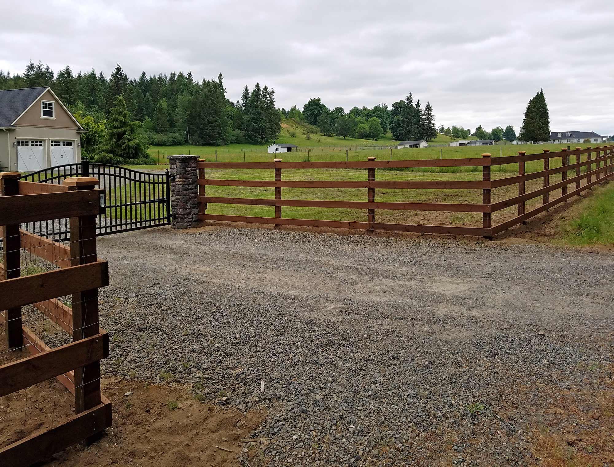 Evergreen Valley Farm Fence AJB Landscaping Fence
