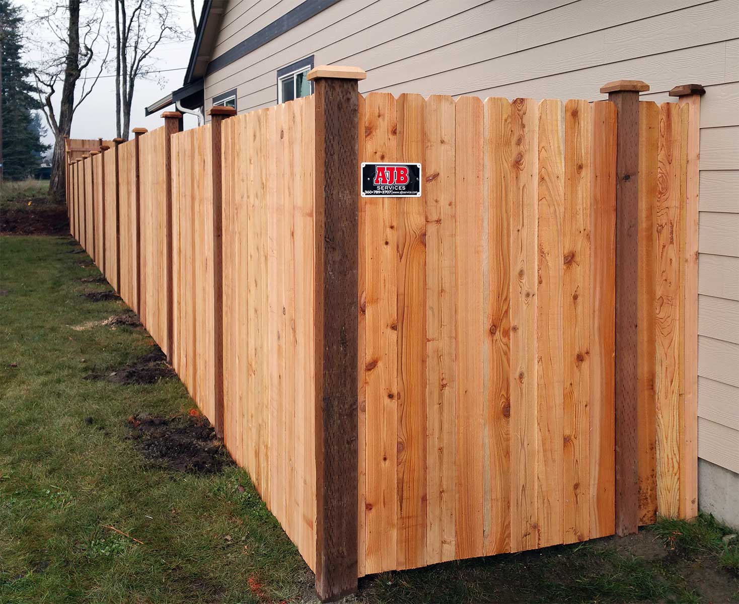 Cedar fence with dog ear pattern