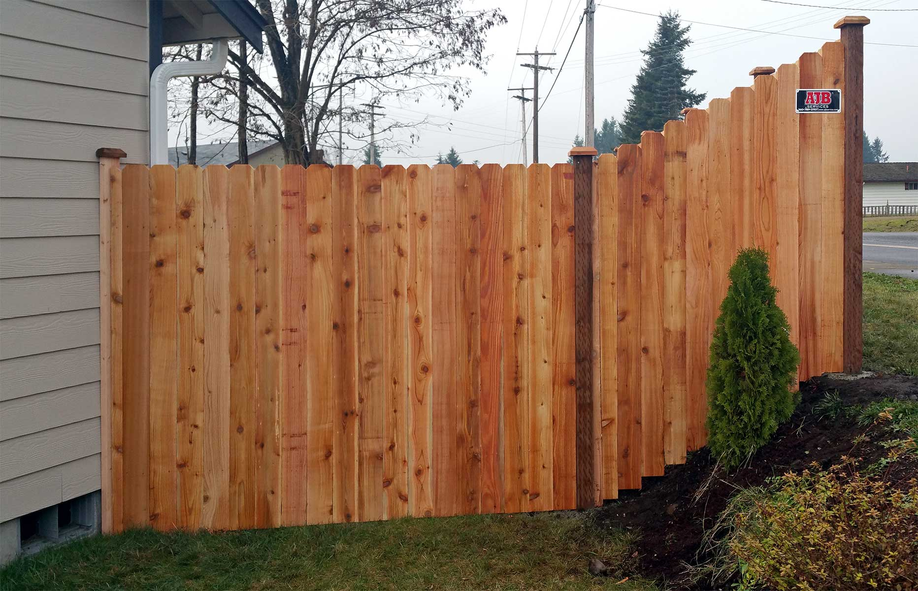 rochester cedar dog ear fence ajb landscaping fence