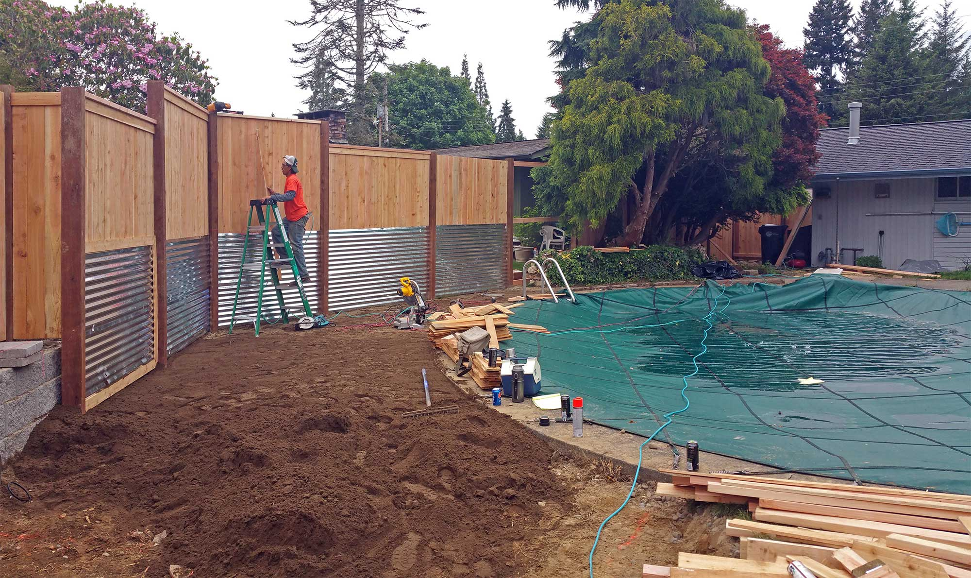Pool Privacy Fence south olympia poolside transformation - ajb landscaping & fence