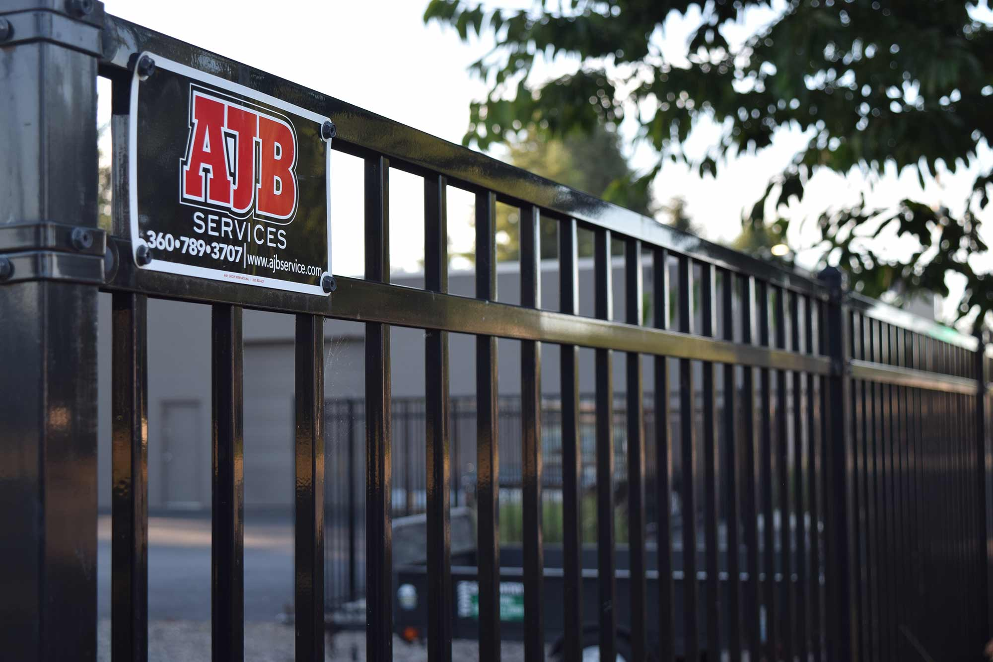 Ornamental Iron Fence installed for a Tumwater commercial property by AJB Landscaping and Fence
