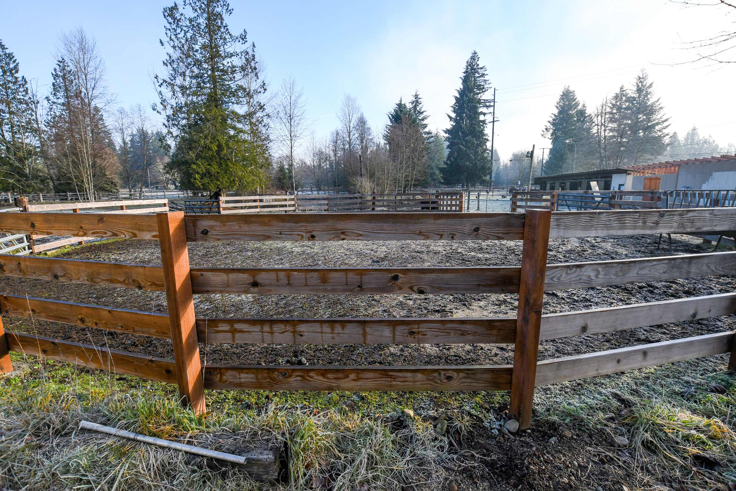 Traditional farm fence for horse corral
