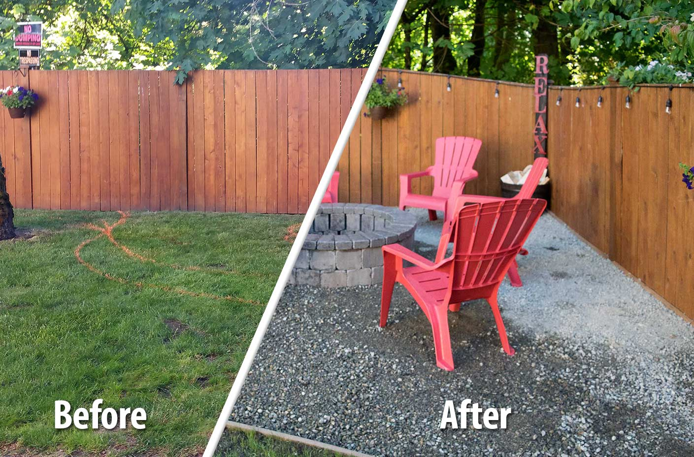As part of this Tumwater landscaping project, AJB Landscaping & Fence created a backyard fire pit. Click on the photo to see a larger view.