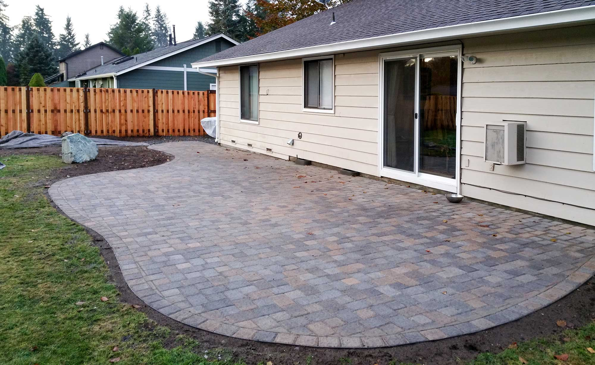 Paver Patio & Fence in South Olympia AJB Landscaping & Fence