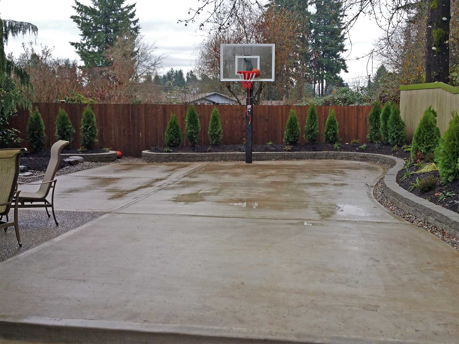 Southeast Olympia Backyard Entertainment Area & Kennel ... on Backyard Ideas Concrete And Grass id=13705
