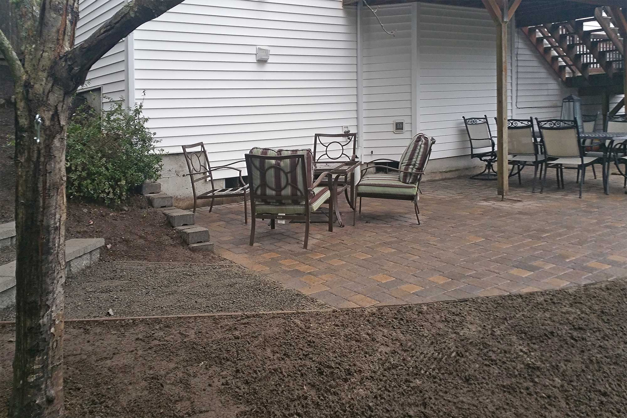 AJB Landscaping & Fence removed a deteriorating concrete slab and replaced it with this beautiful paver patio make with Western Interlock, Slimline pavers.