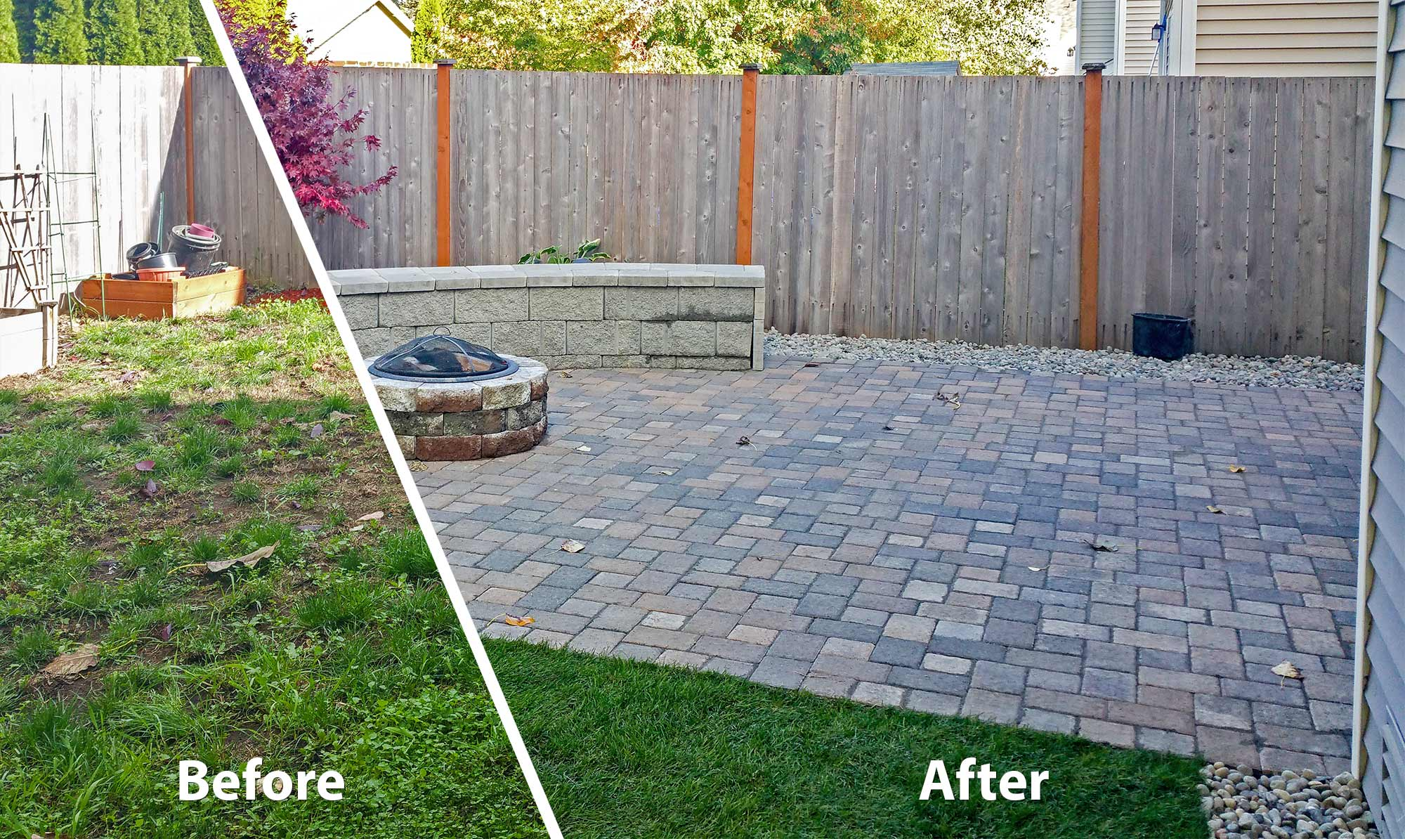 AJB Landscaping & Fence removed the old, neglected lawn from this Tumwater backyard and replaced with a paver patio and fresh sod.