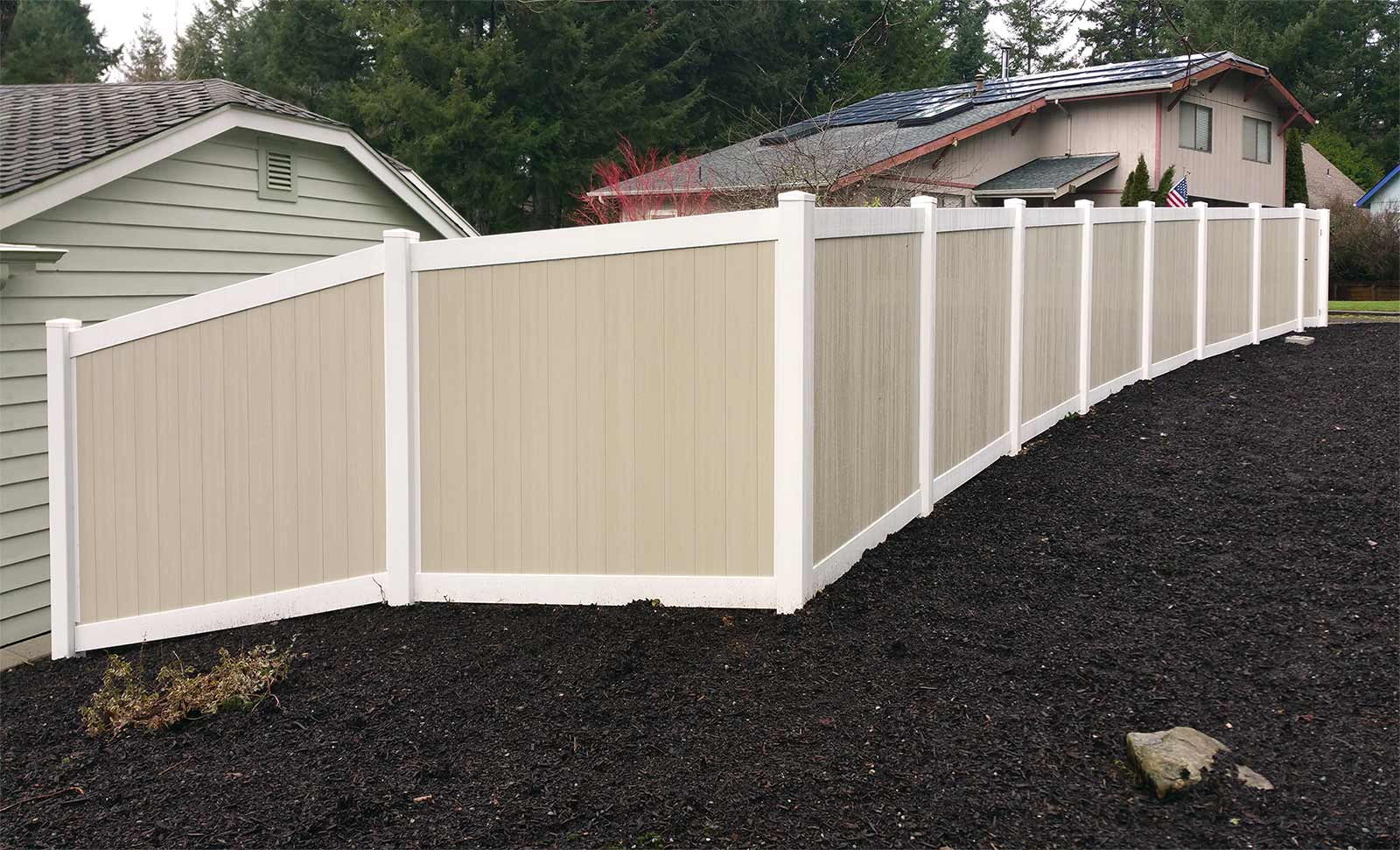 Tiered retaining wall with vinyl fencing in west olympia ajb new vinyl fence new vinyl fence baanklon Image collections