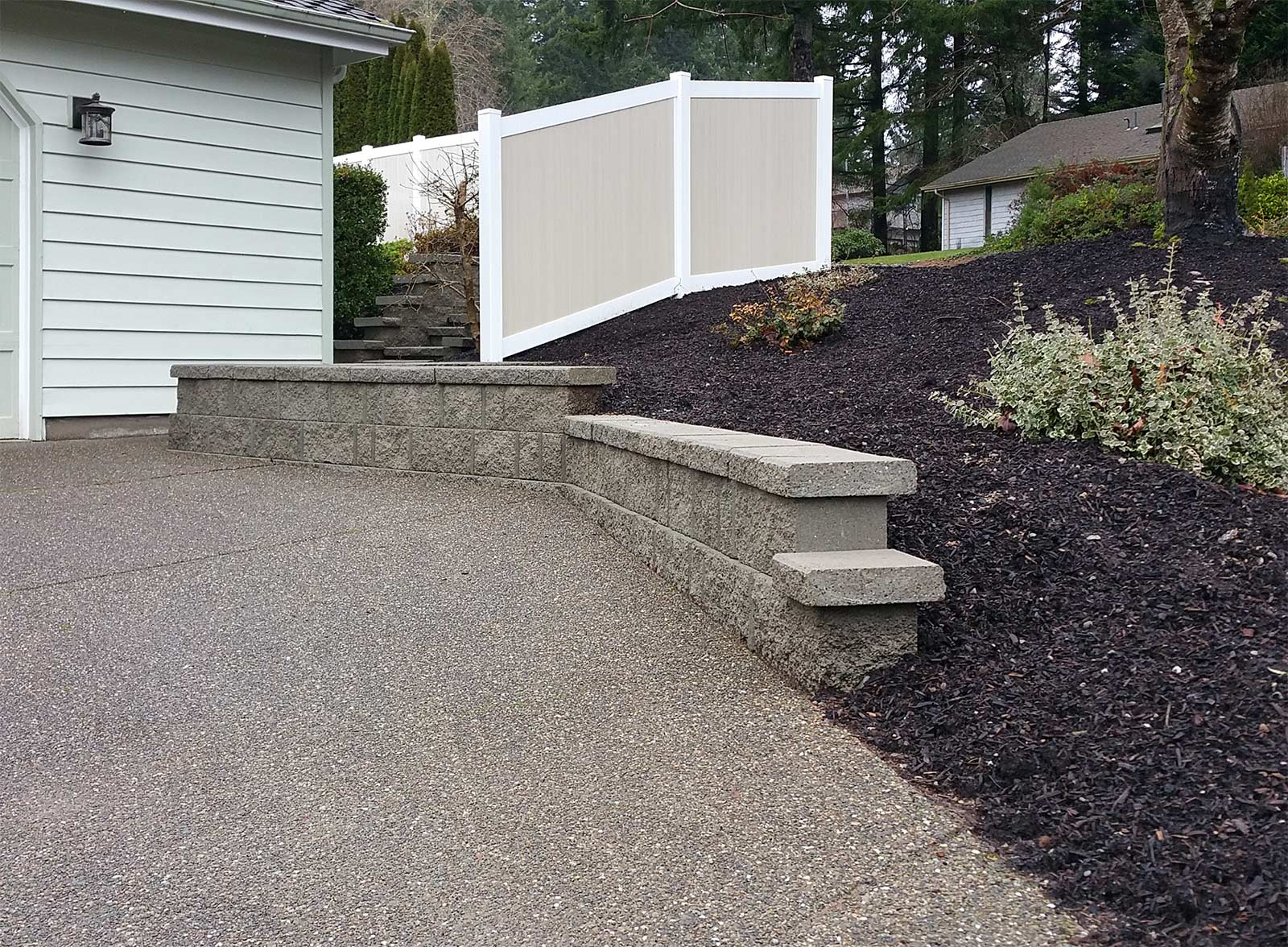 Tiered retaining wall with vinyl fencing in west olympia ajb retaining wall fence after retaining wall fence after baanklon Image collections