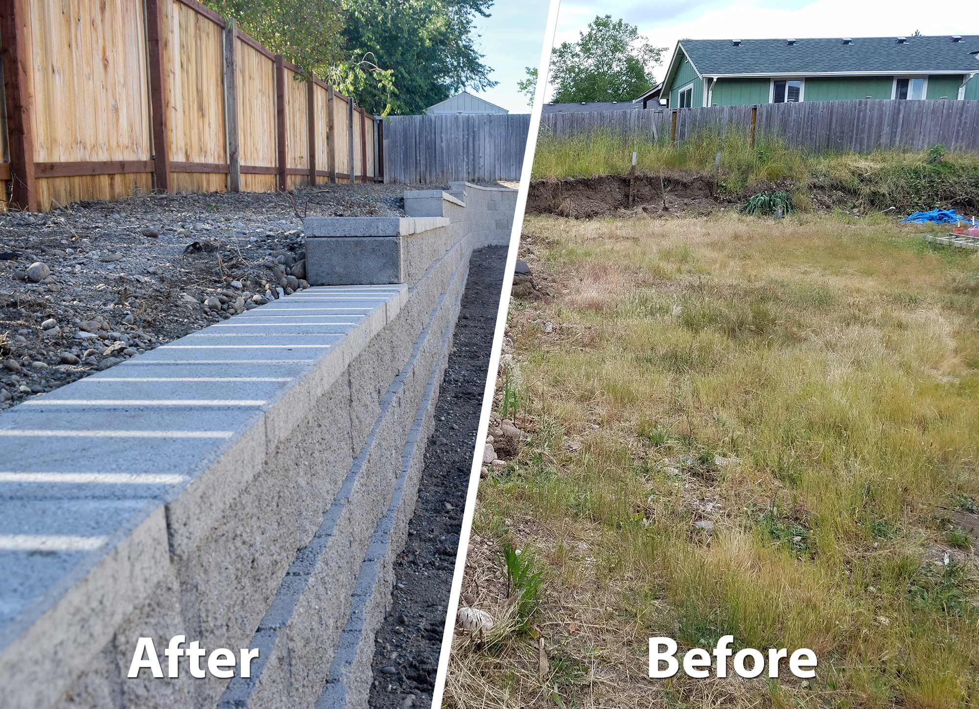 AJB built this retaining wall in the Meadows, a subdivision in Lacey.