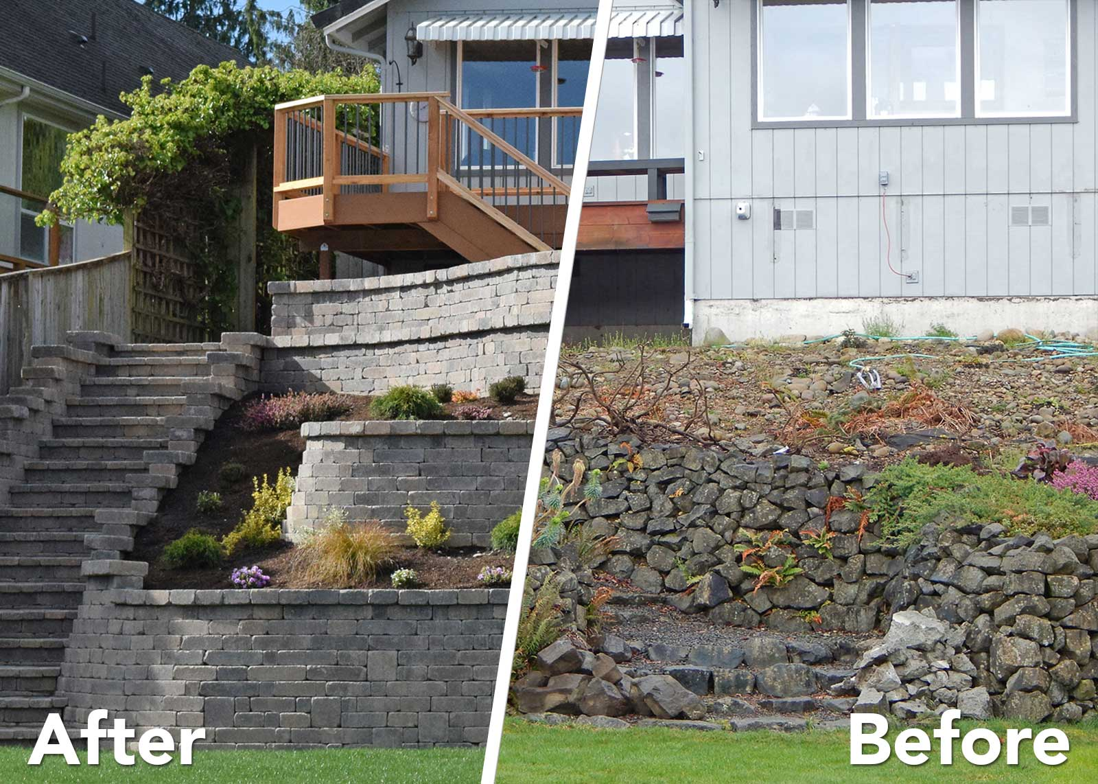 Tiered retaining wall on lake lawrence near yelm ajb for Garden decking before and after