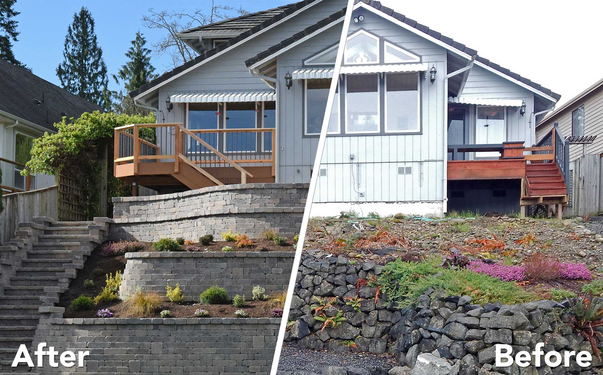 Before And After: Retaining Wall And Decks Before And After: Retaining Wall  And Decks ...