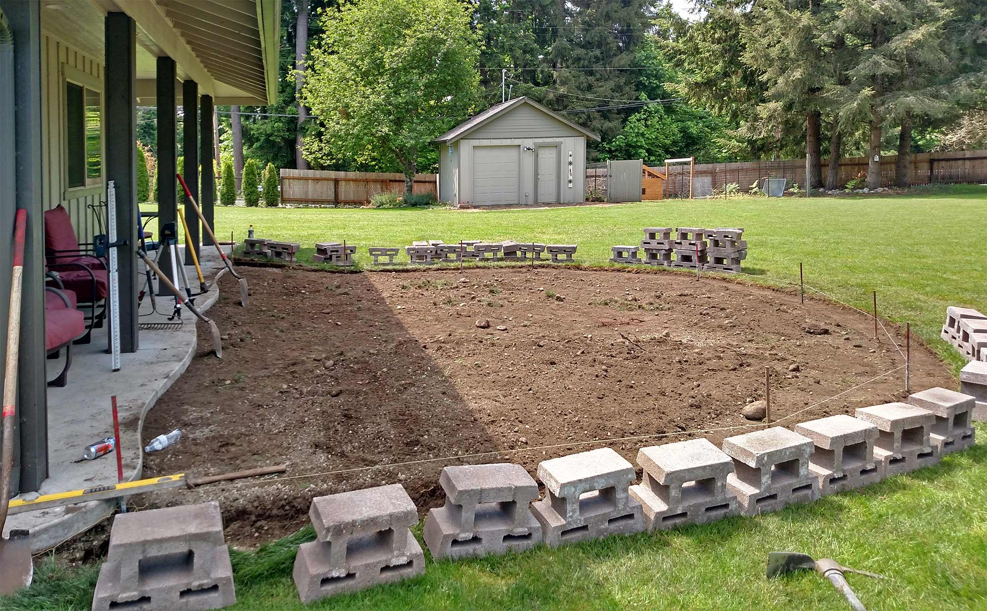 East Olympia Raised Patio Ajb Landscaping Fence