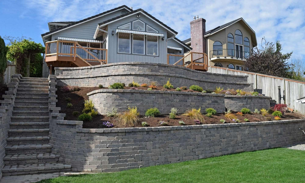 Tiered Backyard Retaining Wall with Stairs
