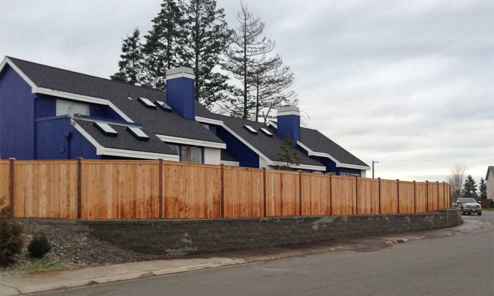 Retaining Wall & Privacy Fence Combination